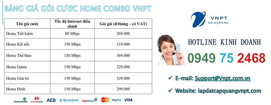 bảng giá gói cước wifi cáp quang VNPT